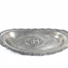 e Anul 1903 Tava veche argintata, ornamente frumoase placata argint piesa antica