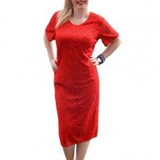 Rochie eleganta de ocazie, din dantela deosebita nuanta rosie (Culoare: ROSU, Marime: 54) - Rochie de seara