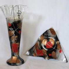 Set vaza si platou Colectia Abstract Geometry - Arta din Sticla
