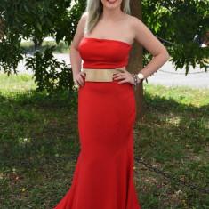 Rochie de gala tip sirena, de culoare rosie cu detaliu auriu (Culoare: ROSU, Marime: 36) - Rochie de seara