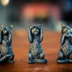 Set statuete Trei pisicute înțelepte