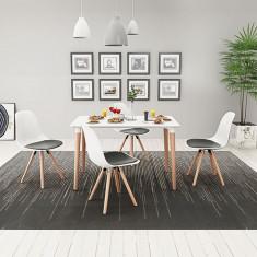 Set masă și scaune de bucătărie, 5 piese, alb și negru - Bucatarie standard