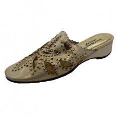 Papuc de primavara-vara, aurie, design floral din decupaje (Culoare: AURIU, Marime: 36) - Papuci dama