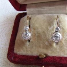 LICHIDEZ COLECTIE- CERCEI ANTICI CU SAPHIRE ALBE - Cercei cu diamante