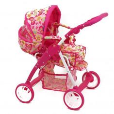 Carucior pentru papusi cu landou Pink Butterfly, Multicolor