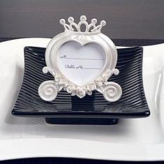 Nunta în formă de inimă Antrenor Place Card Frame White Pearl - Marturii nunta