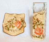 Set vaza si platou Colectia Vintage English Roses