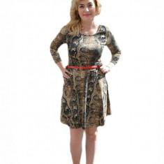 Rochie in clos, cu imprimeu animal-print maro-bej (Culoare: MARO, Marime: 42) - Rochie de zi