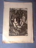 Nicolae Brana – Gravura - Romania 1942 ( 5) RARITATE  EXTREMA !, Istorice, Grisaille, Realism