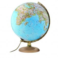 Glob Gold Clasic iluminat, 30cm, harta fizica si politica, National Geographic