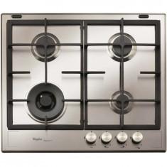 Plita incorporabila Whirlpool iXelium Estetica Fusion GMF 6422 IXL, gaz, 4 arzatoare, 59 cm, aprindere electrica, gratare fonta, inox