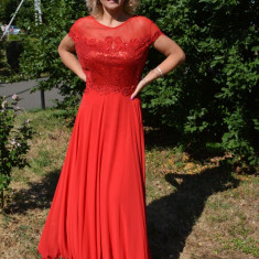 Rochie vaporoasa de ocazie, culoare rosie, din voal cu paiete - Rochie de seara