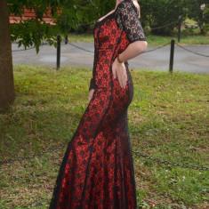 Rochie sofisticata, de ocazii, lunga, culoare rosie cu dantela neagra (Culoare: ROSU, Marime: 38) - Rochie de seara
