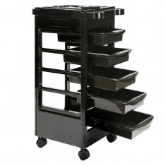 Ucenic mobil cu 5 sertare si suport accesorii, 35x40x95 cm, negru