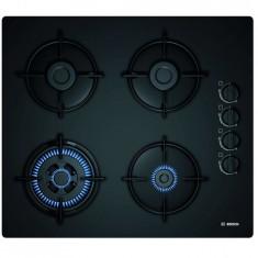Plita incorporabila Bosch gaz POH6B6B10, 4 arzatoare, aprindere electrica, suporturi otel, negru