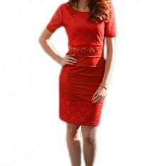 Rochie rafinata, de culoare rosie, cu dantela (Culoare: ROSU, Marime: 36) - Rochie de seara