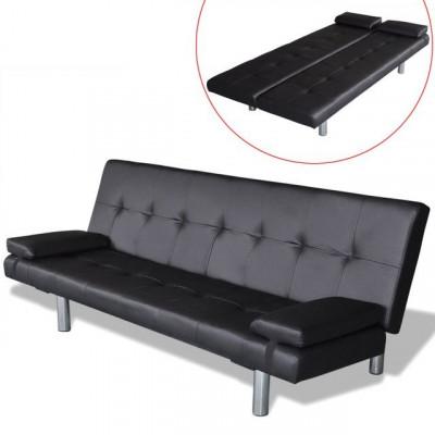 Canapea extensibilă cu două perne, negru foto