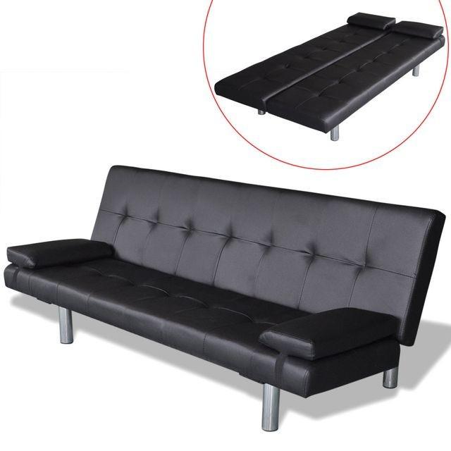 Canapea extensibilă cu două perne, negru foto mare