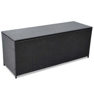 Lada de depozitare pentru exterior din poliratan negru 150 x 50 x 60 cm foto