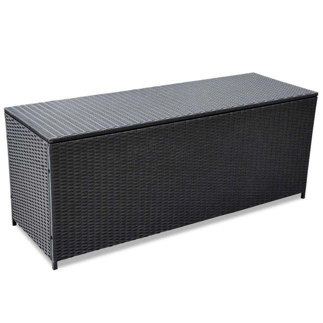 Lada de depozitare pentru exterior din poliratan negru 150 x 50 x 60 cm foto mare