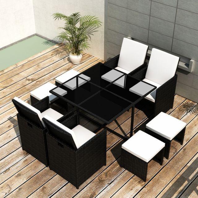 Set mobilier de exterior 21 piese, poliratan, negru foto mare