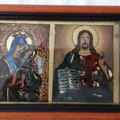 ICOANA pe sticla -DIPTIC (Maica cu Pruncul+Iisus Mantuitorul)