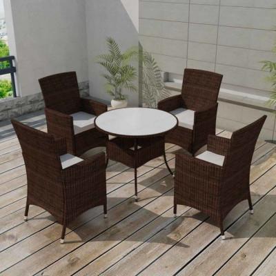 Set mobilier de gradina 9 piese, poliratan, maro foto
