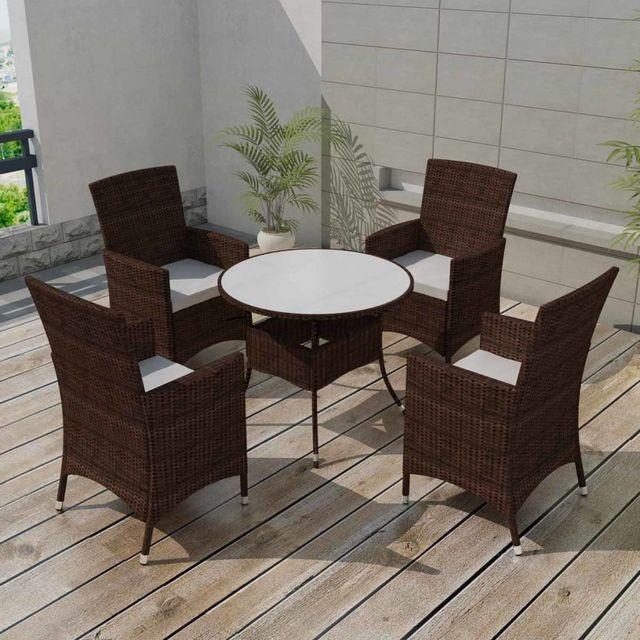 Set mobilier de gradina 9 piese, poliratan, maro foto mare