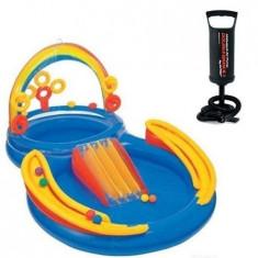 Centru de joaca, piscina gonflabil pentru copii, inclus bile plastic + CADOU Pompa 29 cm - Saltea de apa