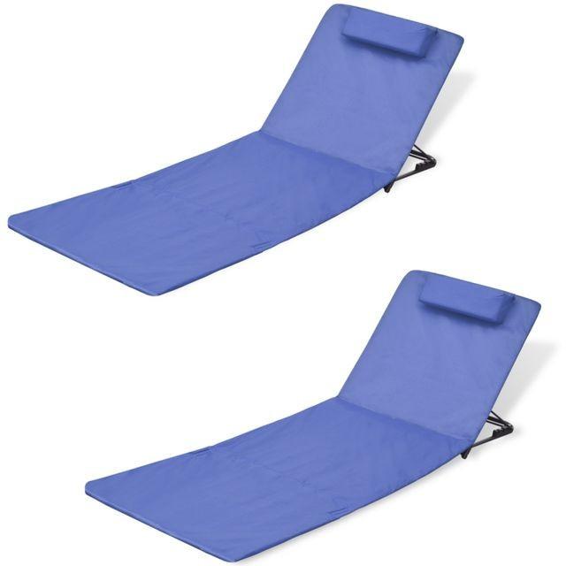 Covoraș pliabil pentru plajă cu spătar, albastru, 2 buc. foto mare