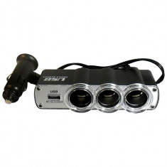 Adaptor triplu pentru bricheta auto, 12/24V, 3 iesiri si port USB