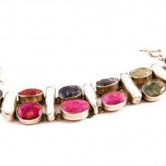 Brățară din argint cu rubin, smarald, ametist si sidef alb - mother of pearl