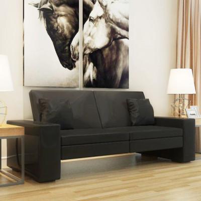 Canapea extensibila din piele artificiala, negru foto