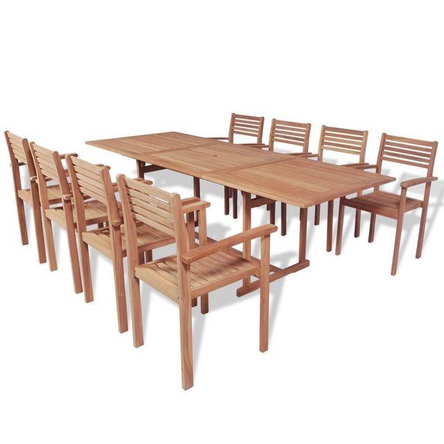 Set mobilier de exterior, 9 piese, lemn de tec