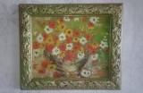 Tablou cu rama vas vaza flori pictura ulei 34x40, Impresionism