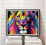 Tablou  abstract arta Pictura pe panza acrilic design lion king 40 x 50 cm, Animale