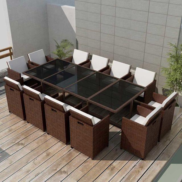 Set mobilier de exterior 37 piese, poliratan, maro