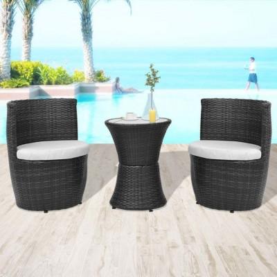Set mobilier de grădină, 5 piese, poliratan, negru foto