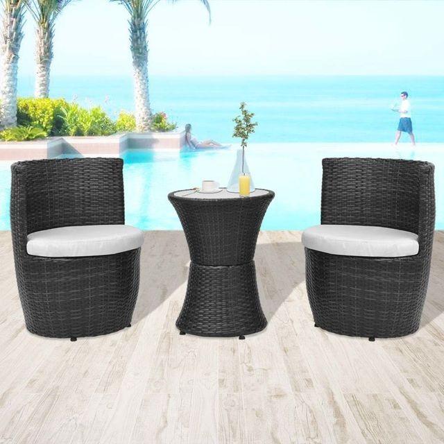 Set mobilier de grădină, 5 piese, poliratan, negru foto mare