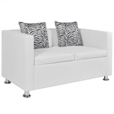 Canapea din piele artificiala cu 2 locuri, Alb foto