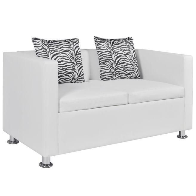 Canapea din piele artificiala cu 2 locuri, Alb foto mare