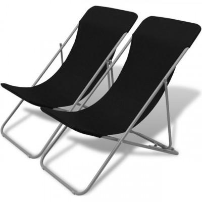 Scaun pentru plaja, Negru, 2 buc. foto