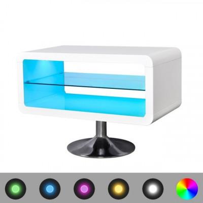Comoda TV lucioasa cu LED 80 cm, alb foto