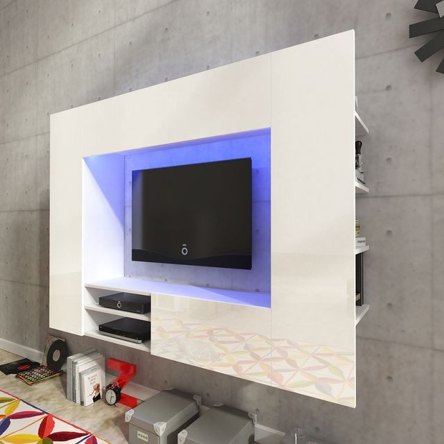 Vitrina lucioasa cu unitate TV ?i iluminare LED, 169,2 cm, Alba