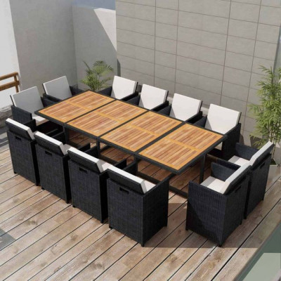 Set mobilier de exterior 37 piese, poliratan ?i acacia, negru foto