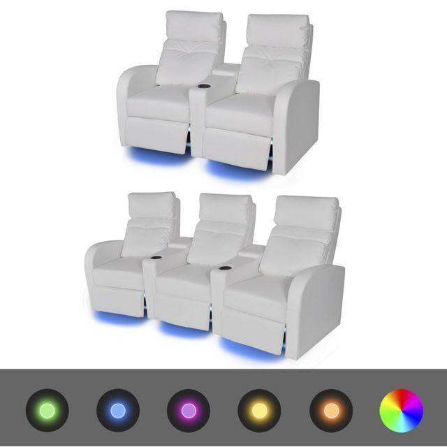 Canapea rabatabilă LED 2+3 locuri piele artificială 2 piese alb foto mare