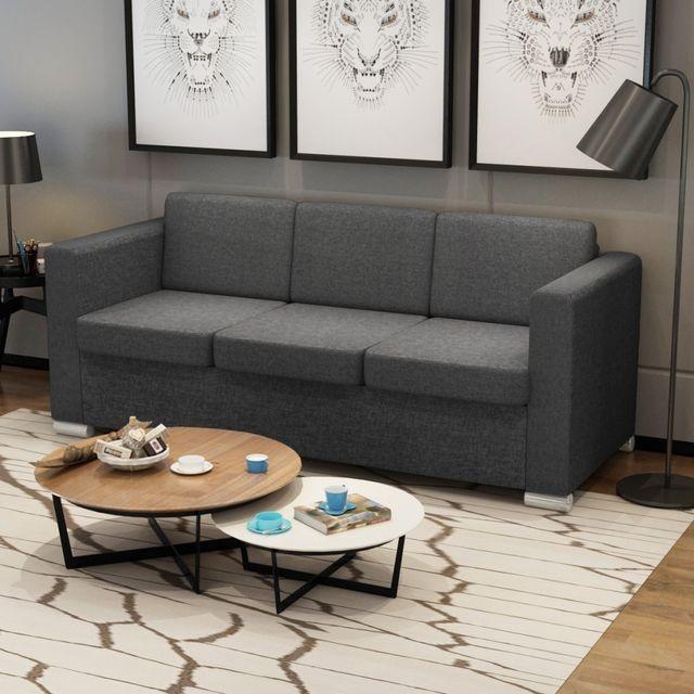 Canapea pentru 3 persoane gri inchis foto mare