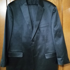 Costum Barbati Satin, Marime: 58, Culoare: Negru