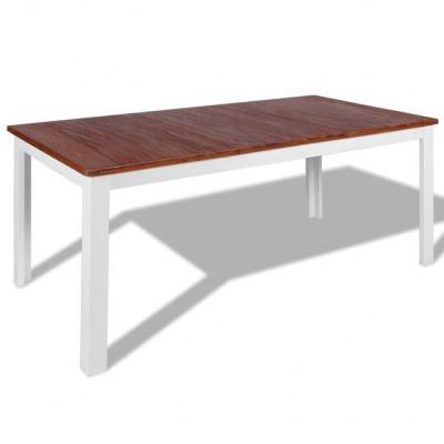 Masa de sufragerie din lemn masiv de tec ?i mahon 180x90x75 cm foto