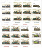 ROMANIA 2011 LP 1912 c  LOCOMOTIVE  SET 4  MINICOLI DE 8 TIMBRE + 1 VINIETA MNH
